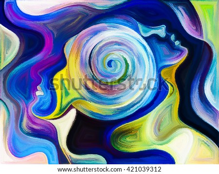 Colors of Unity series. Visually pleasing composition of colorful and surreal human profiles to serve as  background in works on love, passion, romantic attraction and unity - stock photo