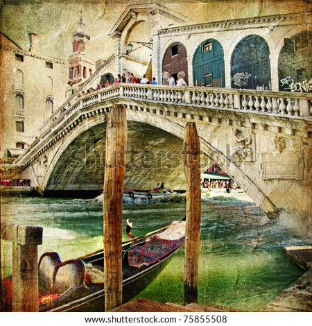 colors of Venice - artwork in painting style  from my italian series - stock photo