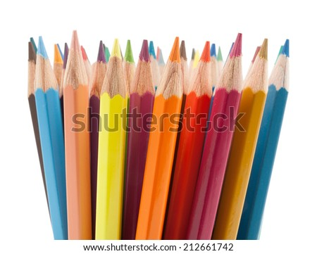 colors pencils set on white background