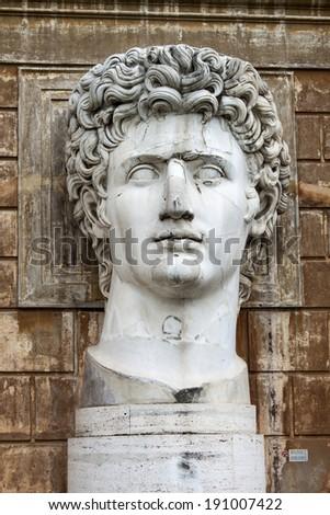 Colossal head statue of Roman emperor Gaius Octavianus Augustus  - stock photo