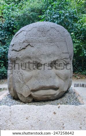 Colossal head - The Old Warrior. La Venta Park, Villahermosa, Mexico - stock photo