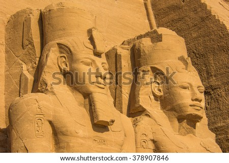 Colossal statues of Ramses II, Abu Simbel temples, Egypt  - stock photo