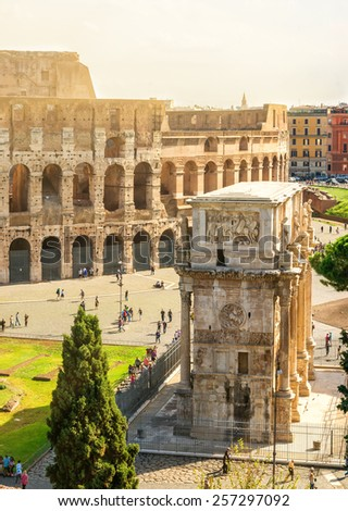 Colosseum and Arch of Constantine, Rome, Italy - stock photo