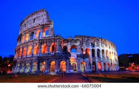 Colosseum at dusk, Rome Italy - stock photo