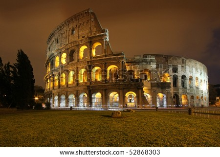 colosseum at night - stock photo