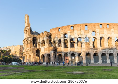 Colosseum at sunset in Rome, Italy. - stock photo