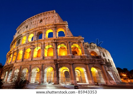 Colosseum Dome or colosseo at dusk - stock photo