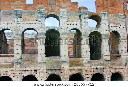 Colosseum, Flavian Amphitheatre in Rome, Italy. - stock photo