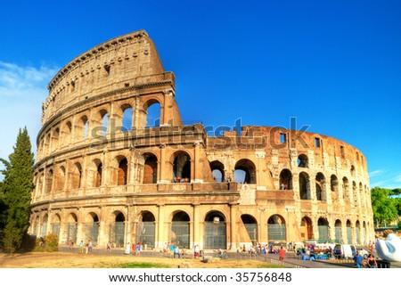 Colosseum -great symbol of Roman empire - stock photo