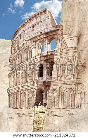 colosseum hand draw collage background - stock photo