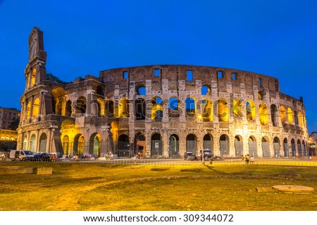 Colosseum in a summer night in Rome, Italy - stock photo