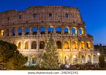 Colosseum in Rome at Christmas, Italy - stock photo