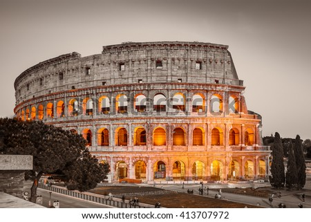 Colosseum in Rome at night, Italy. /White balance changed/ - stock photo