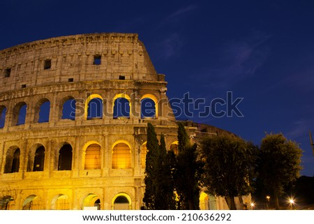 Colosseum in Rome in the evening - stock photo