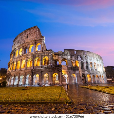 Colosseum in Rome  Italy at twilight - stock photo