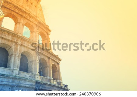 Colosseum in Rome, Italy, effect vintage with space for text - stock photo