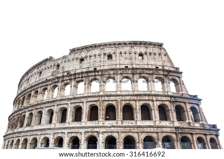 Colosseum in Rome, Italy isolated on white  - stock photo