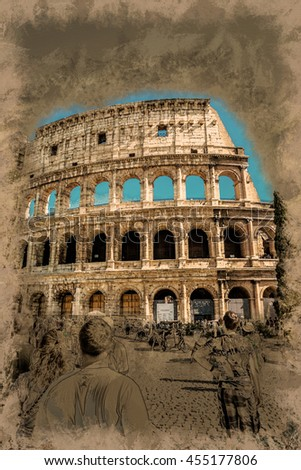 Colosseum in Rome. Modern painting, background illustration, beautiful picture, creative image