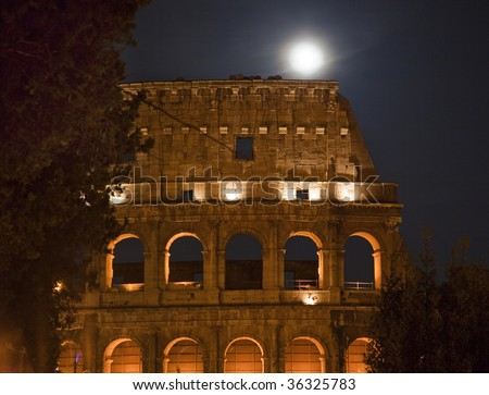 Colosseum Night Moon Details Rome Italy Built by Vespacian