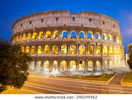 Colosseum or Coliseum, also known as the Flavian Amphitheatre in the Evening, Rome, Italy  - stock photo