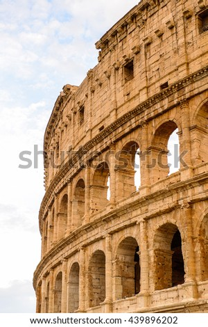 Colosseum or Coliseum in the evening, Rome, Italy. One of the main touristic destinations in Rome