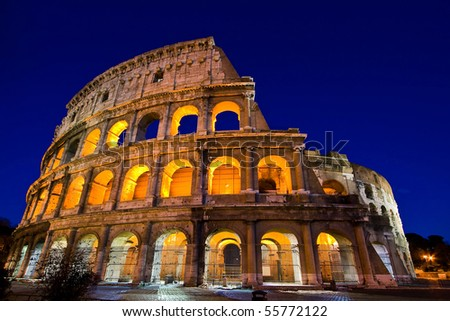 Colosseum or coloseum Dome in Twilight night with ultra-wild Perspective. Colosseum is Italy landmark located in Rome. - stock photo