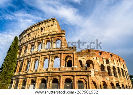 Colosseum, Rome, Italy. Spectacular view of Coliseum elliptical largest amphitheatre of Roman Empire ancient civilization.