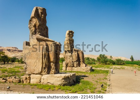 Colossi of Memnon, Valley of Kings, Luxor, Egypt, 2012 year - stock photo