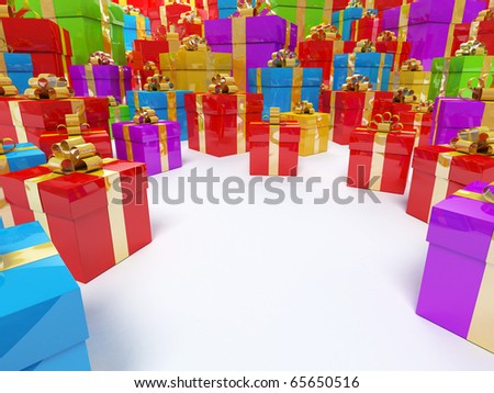 Colour boxes of gifts Holiday clipart