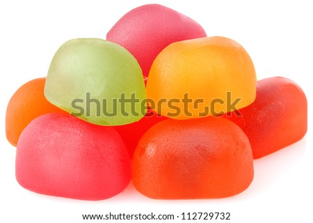 colour candy of gelatin isolated on white background - stock photo