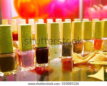 colour of nail polish - stock photo