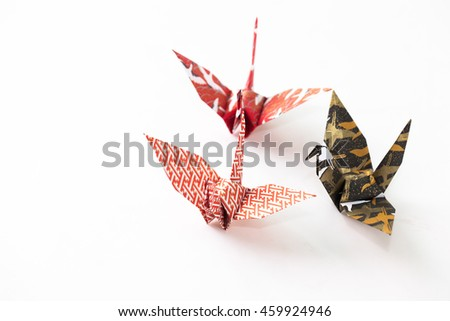 colour paper origami. Paper origami bird isolated on white background.