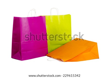 Colour Paper shopping bags isolated on white background