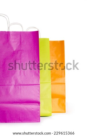 Colour Paper shopping bags isolated on white background - stock photo