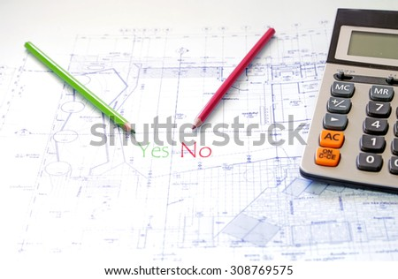 Colour pencil calculator measuring tape on stock photo royalty free colour pencil calculator measuring tape on blueprint architectural drawings paperte office construction work malvernweather Choice Image