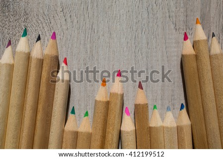 Colour pencils, colored pencils lay in a heap, school design, items for school design, colored flat education tools, copyspace    - stock photo