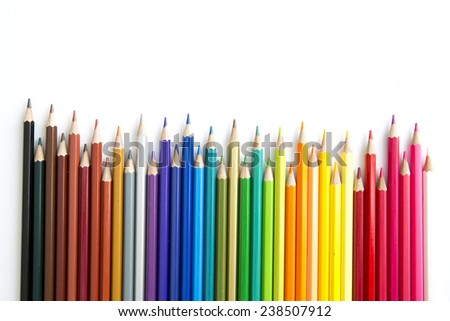 Colour pencils isolated on a white background - stock photo