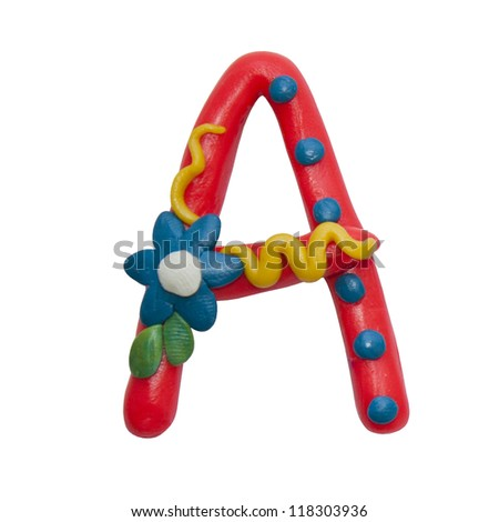 Colour plasticine letter isolated on a white background - alphabet - stock photo