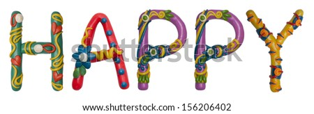 Colour plasticine letter isolated on a white background - happy - stock photo