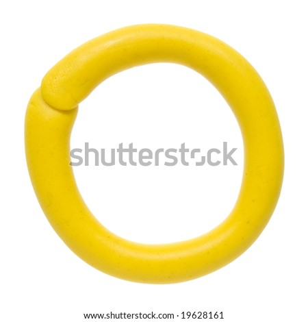 Colour plasticine letter isolated on a white background - yellow O - stock photo