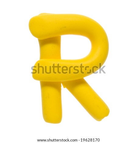 Colour plasticine letter isolated on a white background - yellow R - stock photo
