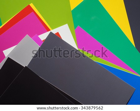 Colour samples printed on paper with many different colours