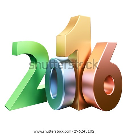 Colour signs 2016 new year on white background. 3d rendered image.