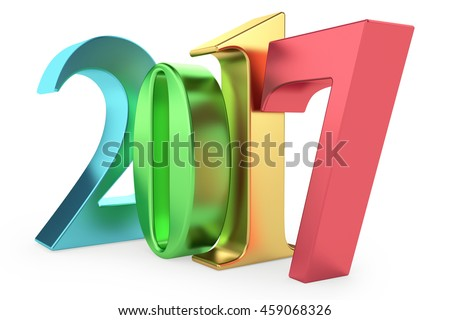 Colour signs 2017 new year on white background. 3d rendered image. - stock photo