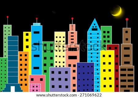 colour skyscraper on  black background - stock photo