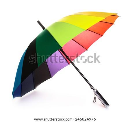 Colour umbrella isolated on the white background - stock photo