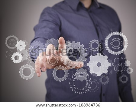 Colour wheels as symbols of engineering and design - stock photo