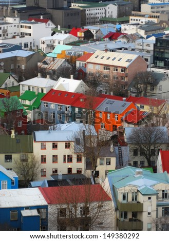Coloured buildings bringing a splash of colour to the winter in Reykjavik, Iceland - stock photo