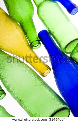 Coloured creative bottle. Stained glass