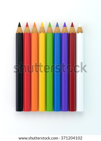 Coloured pencils  in a row. Isolated on white background.  On a white paper textured background. - stock photo